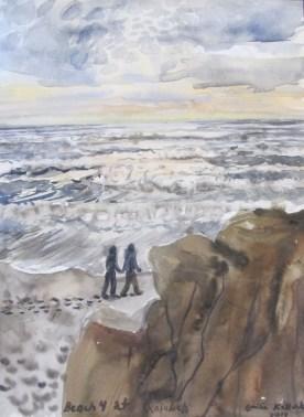 Kalaloch Beach, watercolor on paper, 12 by 8 in. Emilia Kallock 2014