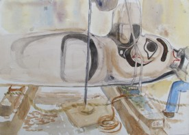 Donny Working on Raven 2, watercolor on paper, 8 by 11 in. Emilia Kallock 2014
