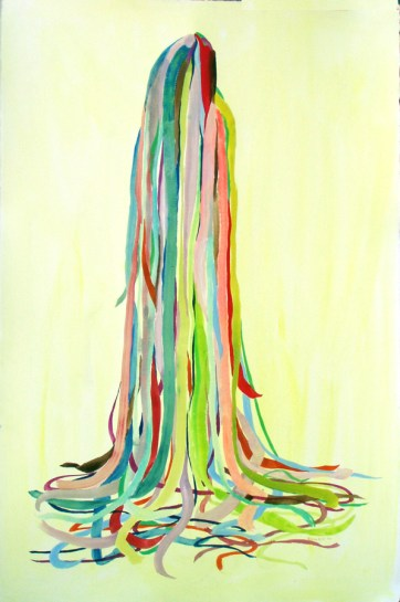 Ribbons, watercolor on paper, 54 by 40 in. Emilia Kallock 2003