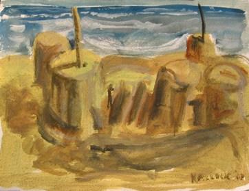 Sandcastle 1, watercolor on paper, 12 by 16 in. Emilia Kallock 2007