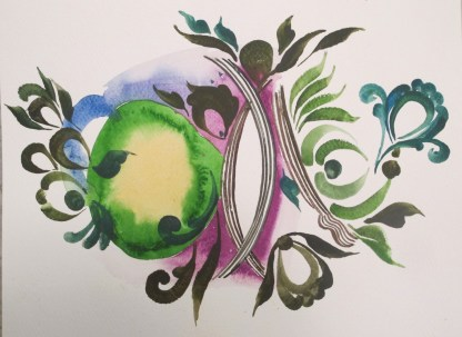 Stick Woman 3, watercolor on paper, 8 by 11 in. Emilia Kallock 2014