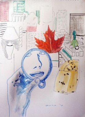 Vancouver and Mirror 2, watercolor and pen on paper, 11.5 by 8.5 in. Emilia Kallock 2015