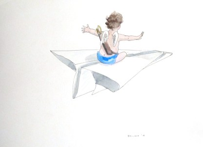 Untitled (Cupid 2), watercolor and ink on paper, 8 by 11 in. Emilia Kallock 2015