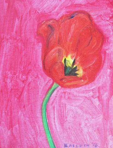 Tulip 4, acrylic and glitter on canvas, 9 by 7 in. Emilia Kallock 2016