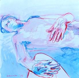 Steven Sleeping 3, watercolor pencil on paper, 5 by 5 in. Emilia Kallock 2015