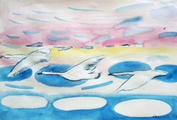 Mural Study 2, watercolor on paper, 12 by 18 in. Emilia Kallock 2016