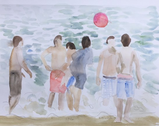 Beach in Chile, watercolor on paper, 8 by 10 in. Emilia Kallock 2016