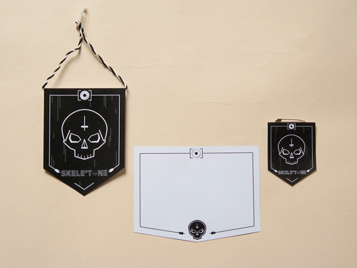 DJ, skele'tone, musique, electro, noir, blanc, logo, identité, papeterie