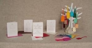 illustration, carte, étiquettes, couleurs, coton, fil, aiguille