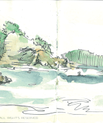 anchor bay, tawharanui, national park, auckland, Emilie Geant, illustration, sketch, new zealand