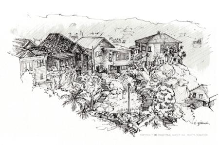 kelburn, wellington, ink, Emilie Geant, illustration, sketch, new zealand