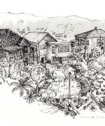kelburn, wellington, ink, Emilie Geant, illustration, sketch, new zealand