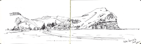 mahia, beach, peninsula, ink, Emilie Geant, illustration, sketch, new zealand