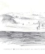 muriwai, beach, auckland, Emilie Geant, illustration, sketch, new zealand