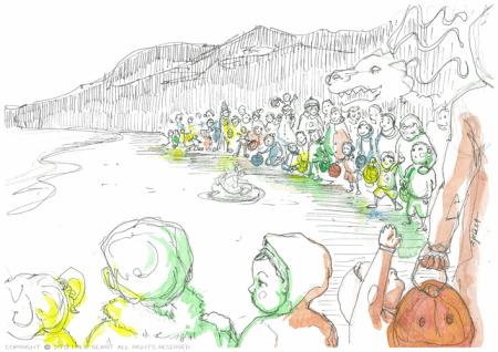 matariki festival, piha, lantern, Emilie Geant, illustration, sketch, new zealand