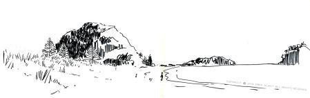 mount maunganui, tauranga, Emilie Geant, illustration, sketch, new zealand, north island, beach, ink