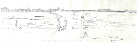 point chevalier, auckland, beach, Emilie Geant, illustration, sketch, new zealand