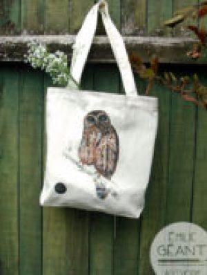 Tote, Ruru, Morepork, bag, canvas, Emilie Geant, birds, New Zealand, kiwiana, watercolor. artwork