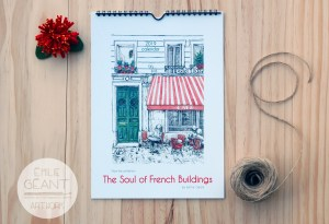 calendar, french, building, France, wall, home decor, watercolor, ink, illustration, 2019, Christmas, New Year