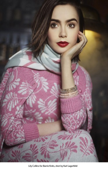 20 Lily Collins for Barrie Knits, shot by Karl Lagerfeld.
