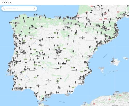 Mapa de Destination Charger de Tesla en España. Actualizado a 29 de abril de 2020.