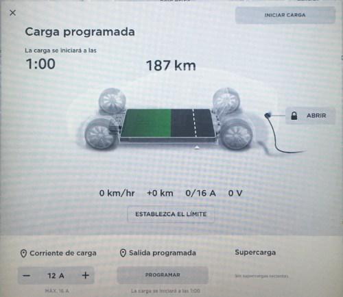 Configuración de carga a 12 A en Tesla Model S 75. Detectado límite en 16 A.