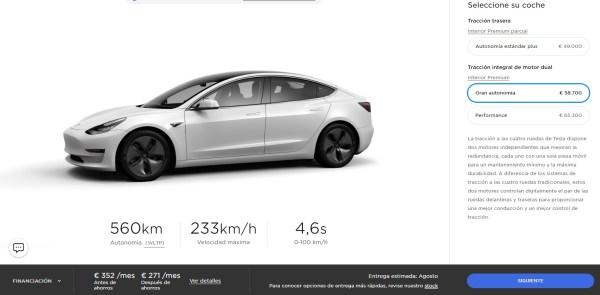 Tesla Model 3 Long Range AWD. Precio 59.680 € al contado. Financiación a 8 años con 30.000 € de entrada son 352 €/mes (4.112 € de intereses).