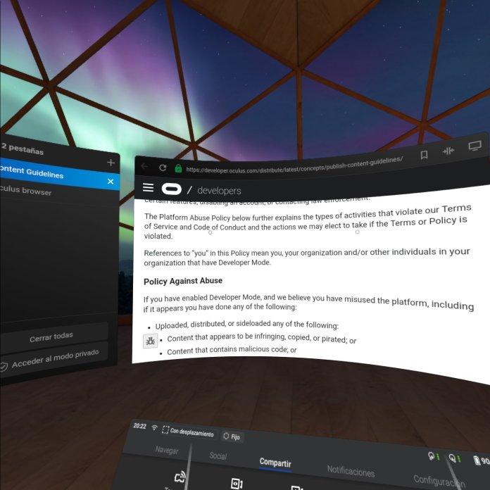 oculus quest policy developer