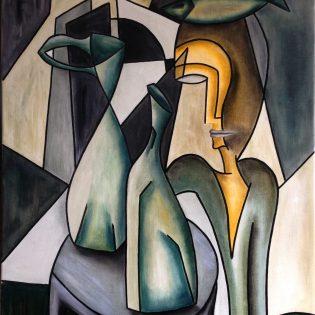 Femme, Poisson et Vases