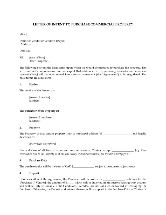Letter Of Intent Commercial Lease