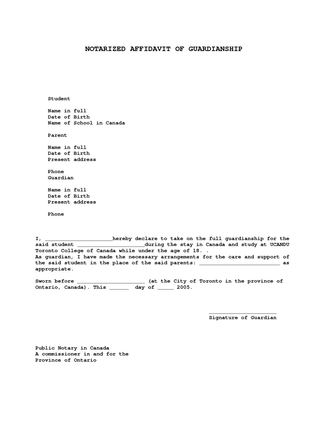 Proof of guardianship letter sample invsite free guardianship letter template samples templates expocarfo Gallery