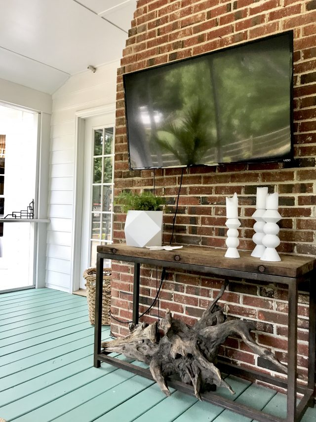 our screened porch adding a tv