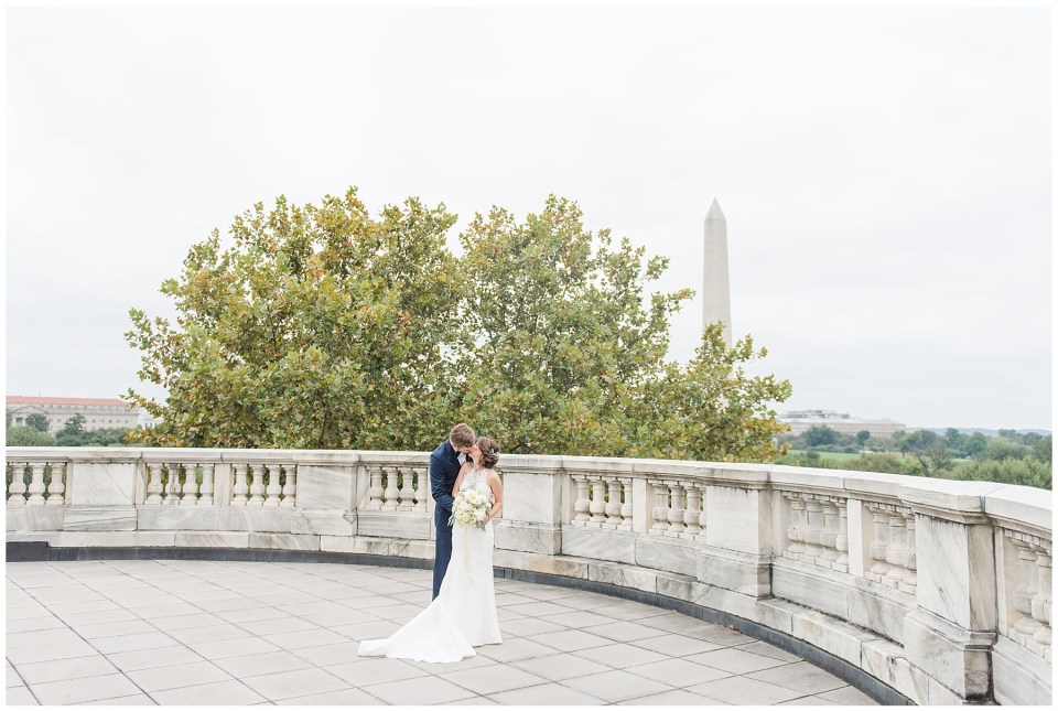 Rooftop views of the Washington Monument at the DAR wedding venue