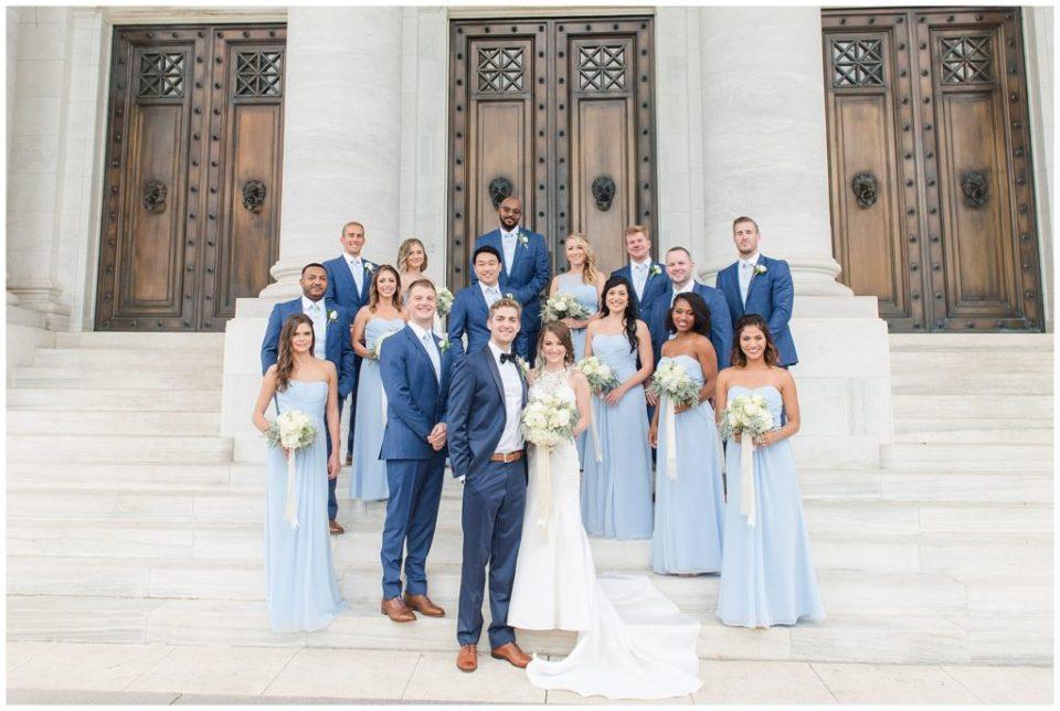 dar wedding party photos on steps