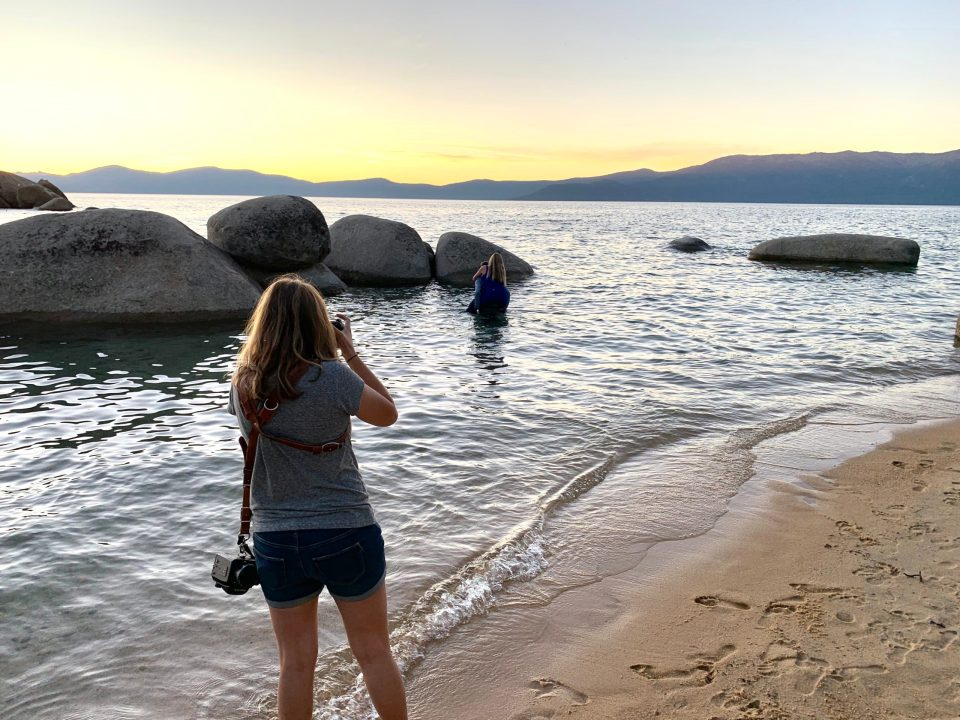 Lake Tahoe engagement photographer east beach