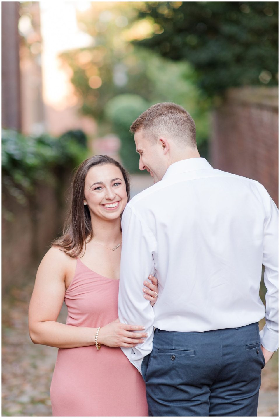 cobblestone engagement photo
