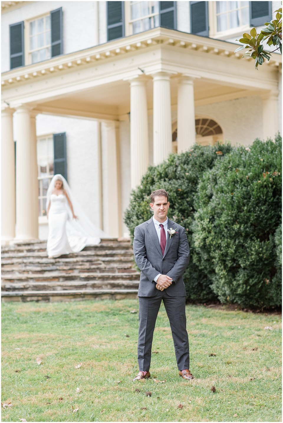first look photo at rust manor house leesburg wedding venue