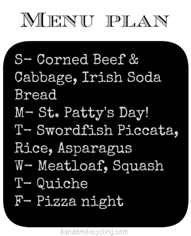 Meal plan monday March 17th