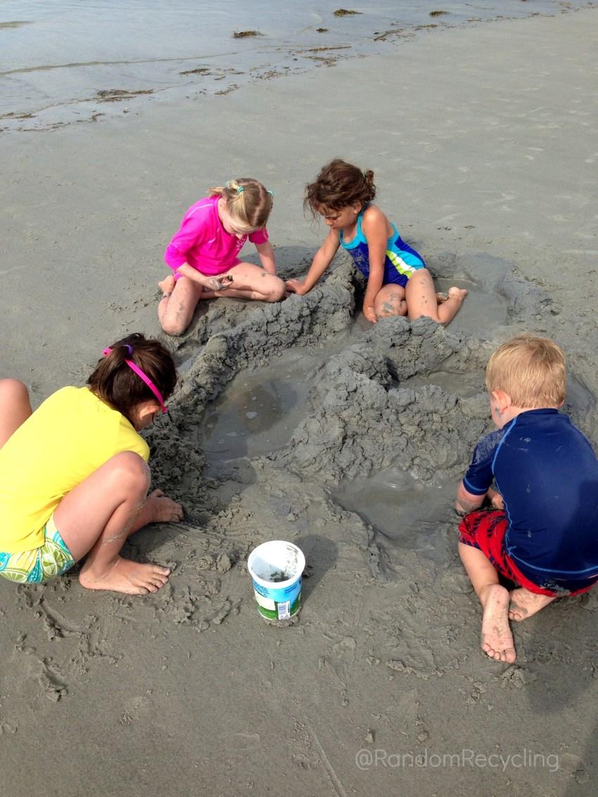 Building a sand castle together