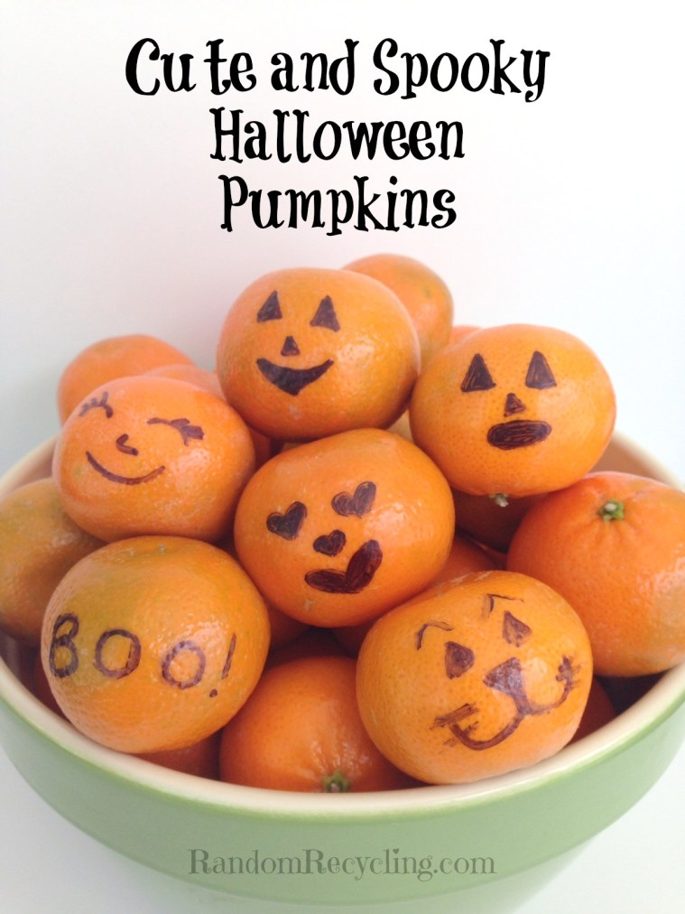 Cute and spooky halloween pumpkins for lunch or snack time