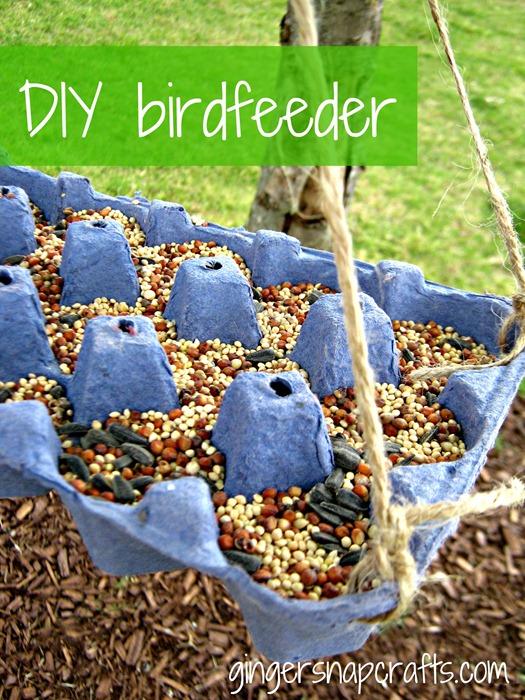 DIY egg carton birdfeeder