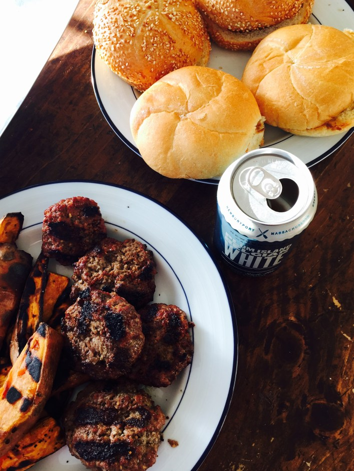 Grilled sweet potato fries and burger