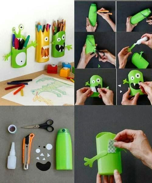 Shampoo bottle pencil holders