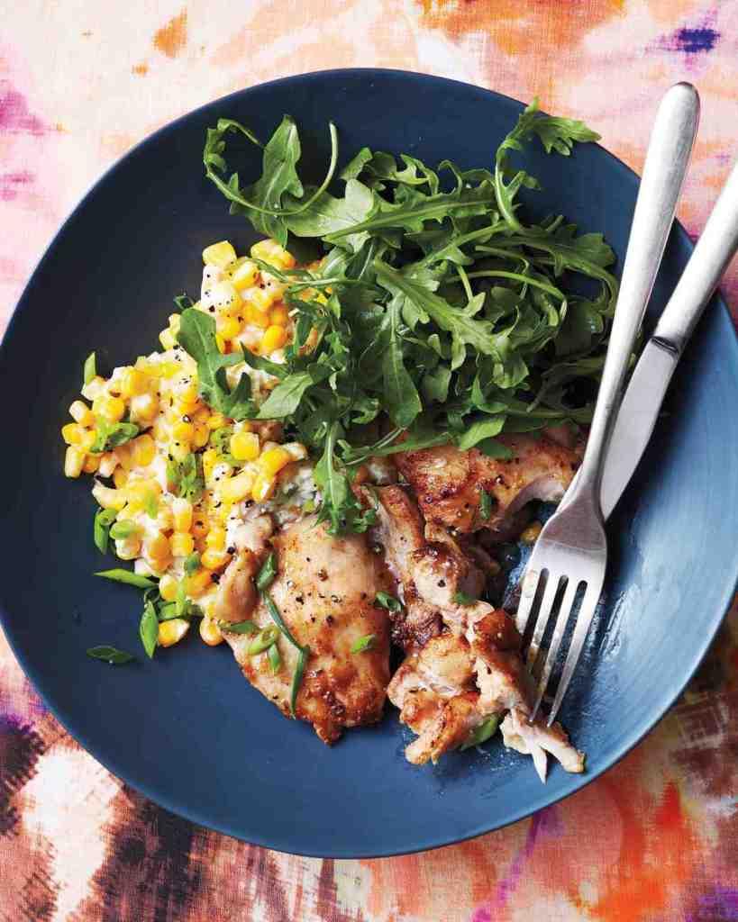 Vinegar Glazed Chicken and Creamed Corn