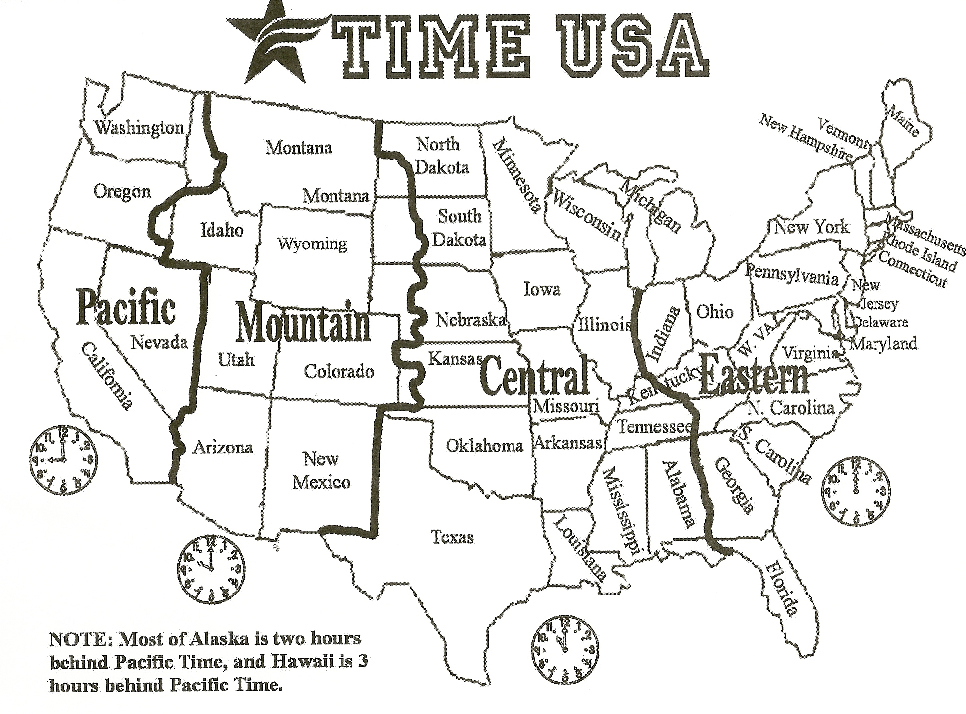 It's just a photo of Printable Us Timezone Map with regard to time zone usa printable