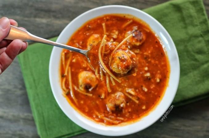 Spaghetti & Meatball Soup - Emily Bites