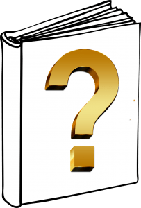 drawing of book with question mark on an otherwise blank cover