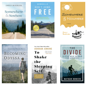 6 covers of outdoor adventure books, including the old and new covers of Emily's book