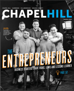 cover of Chapel Hill Magazine showing five young male entrepreneurs