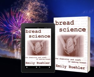 copies of Bread Science book with background of fireworks